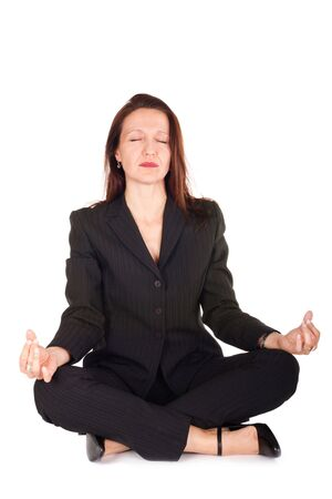 businesswoman taking time for meditation