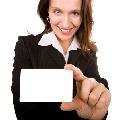 businesswoman presenting her professional  card, focus on the hand Stock Photo - 3572049