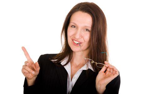 businesswoman holding glasses on white background Stock Photo - 3572059