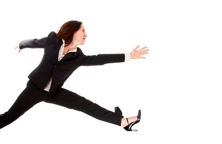 pretty businesswoman running very fast isolated on white photo