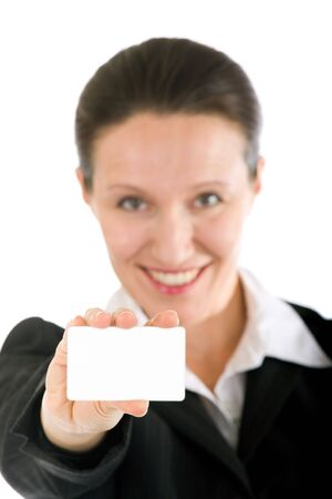pretty woman showing blank business card Stock Photo - 3604012