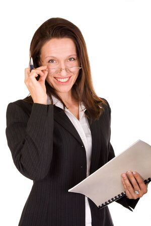 confident businesswoman smiling, holding notebook and pen Stock Photo - 3604024