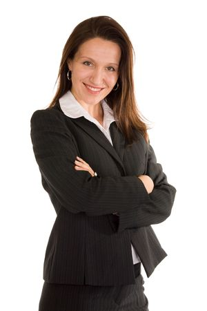 folded arms:  confident woman manager posing on white background Stock Photo