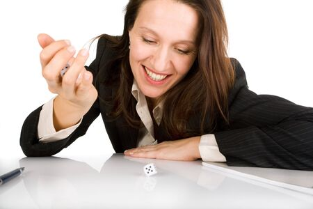 businesswoman throwing dices on white office table Stock Photo - 3604020