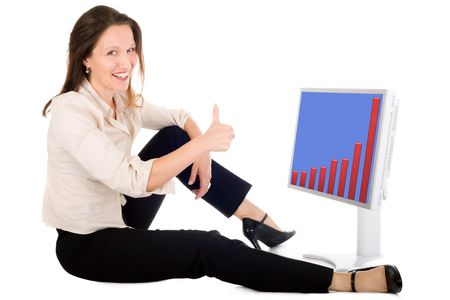 business woman looking at the graph on computer screen and making ok sign photo
