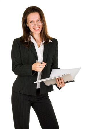 smiling businesswoman holding pen and notebook on white background Stock Photo - 3655380