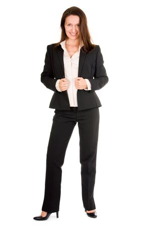 smiling business woman standing on white background photo
