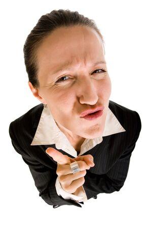 berisping: dynamische weergave van de boze vrouw directeur maken berisping en waarschuwing
