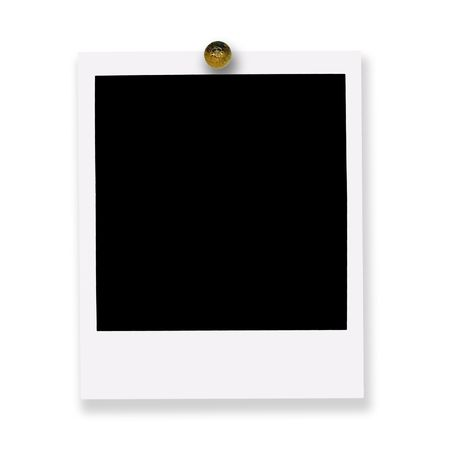 pinned: pinned polaroid film on white background Stock Photo