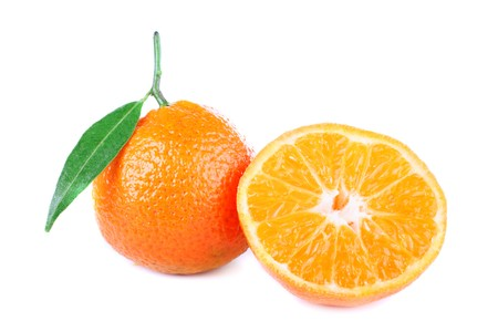 fresh tangerine isolated on white background Stock Photo - 4004148