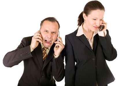 very busy businessteam, man is crying and woman happy photo