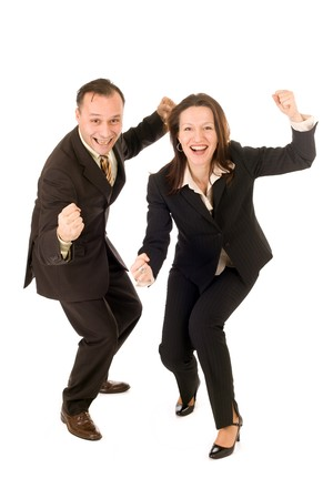 happy businessman and woman celebrating success on white background photo