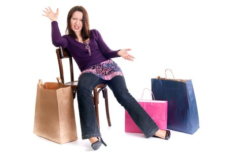 woman seated on chair very upset after shopping Stock Photo - 4145442