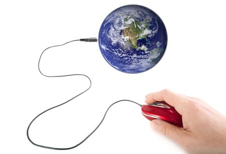 male hand using computer mouse plugged on planet earth Stock Photo