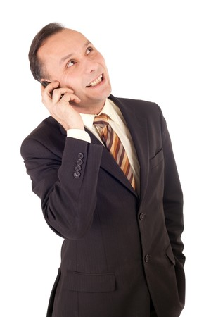 businessman talking into cellphone on white background photo