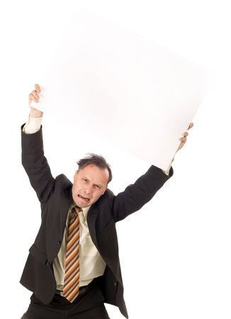 crying businessman holding blank billboard, ready for editing photo
