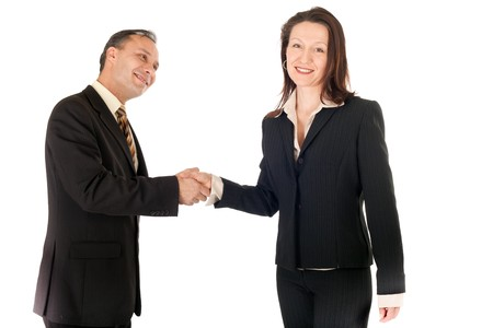 businesswoman and businessman shaking hands  photo