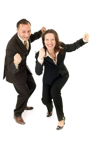 happy business couple showing their victory photo