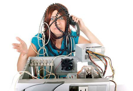 woman having problem with computer and calling hotline support Stock Photo - 5032186