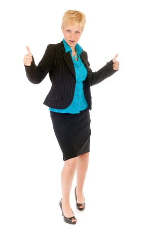 blond business woman celebrate her success photo