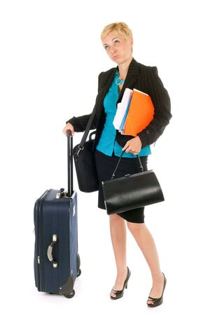 very busy business woman holding suitcase and document photo