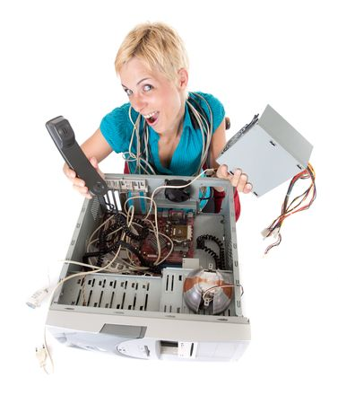Dynamic view on woman having problem with computer and calling support Stock Photo - 5077510