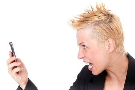 angry punk business woman yelling at cellphone photo