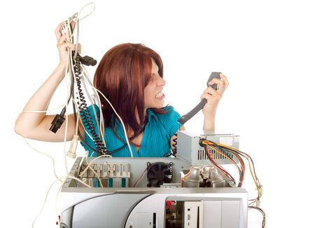 angry red hair woman phoning technician support for help photo