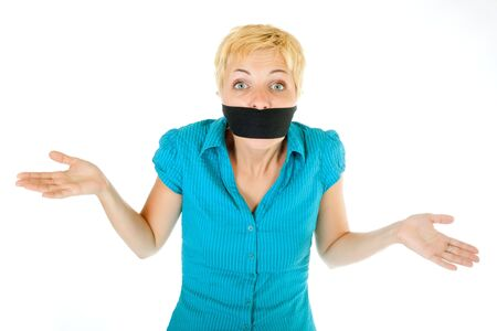 banning the symbol: censored blond woman mouth tied with blindfold Stock Photo
