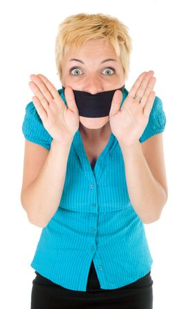 banning the symbol: censored blond woman mouth tied with blindfold trying to speak