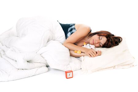 red head woman: red head woman sleeping with rabbit plush isolated on white
