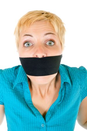 censored blond woman mouth tied with blindfold trying to speak photo