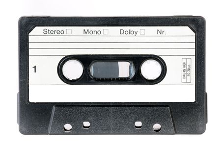 vintage blank audio cassette isolated on white