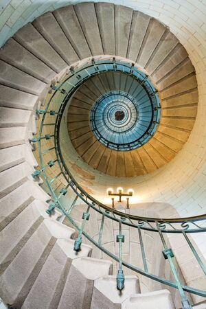high luxurious lighthouse staircase with metal guardrail and opaline walls, Eckmul Brittany photo