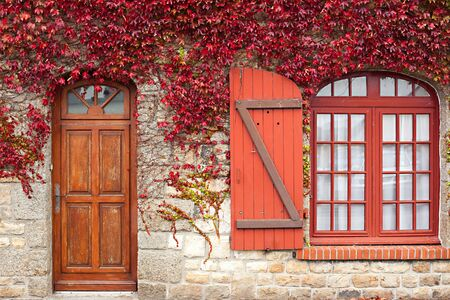 door leaf: red autumn vine climbing traditional granite house, brittany