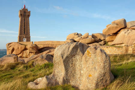 ploumanach: granite ploumanach lighthouse in brittany, france