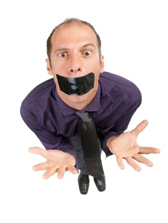 dynamic view of business man censored with black tape Stock Photo - 5695045