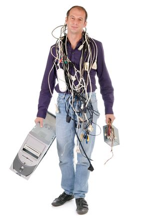 man tangled with cables having problem with his computer photo
