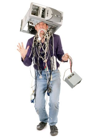 tangled: furious man having computer problems isolated on white