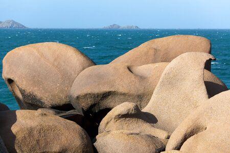 ploumanach: famous ploumanach granite rocks in brittany, france