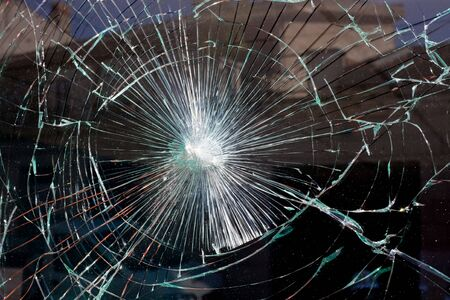 window glass: broken window glass like a spider web Stock Photo