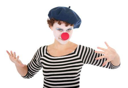 clowngesicht: Junge Frau tragen Clown Gesicht und Durchf�hren von Mime Gesten.