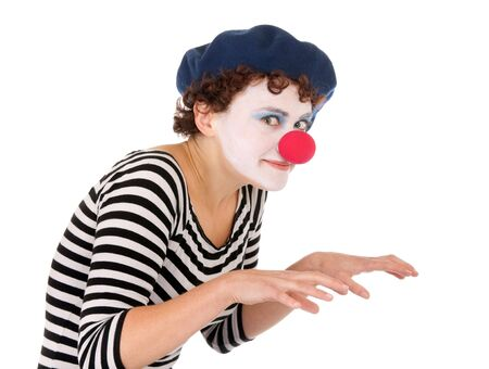 clowngesicht: Junge Frau tragen Clown Gesicht und MIME-Stiftbewegungen ausf�hren.