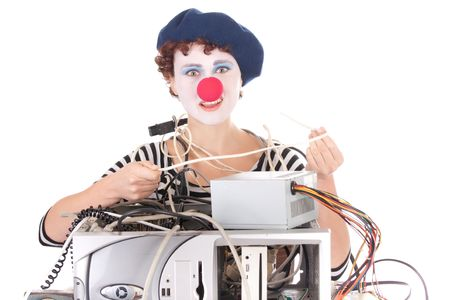 computer problems: Donna con il trucco clown avendo problemi del computer  Archivio Fotografico
