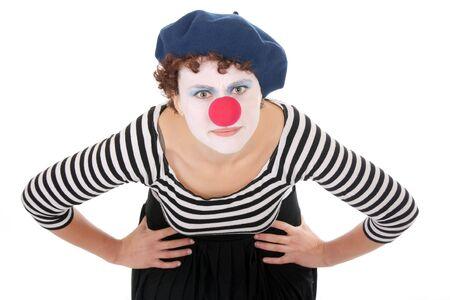 clowngesicht: junge Frau tragen Clown Gesicht Biegung �ber und Kamera betrachten