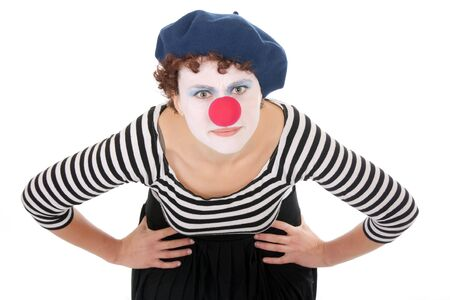 young woman wearing clown face bending over and looking at camera photo