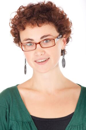 portrait of pretty young woman wearing glasses isolated on white photo