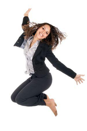 fille arabe: entreprise jeune femme saut isol�e sur blanc Banque d'images