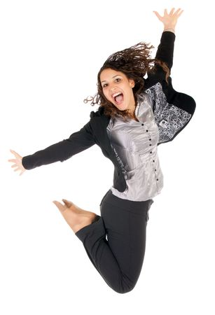 beautiful young business woman jumping over white background photo