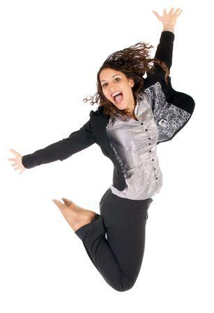 fille arabe: belle entreprise jeune femme, sautant sur fond blanc